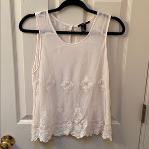Cream Tank with Lace Detail